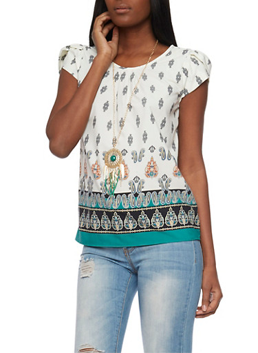 Printed Cap Sleeve Top with Necklace,IVY/GREEN,large