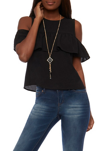 Ruffled Cold Shoulder Top with Necklace,BLACK,large