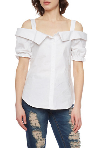 Short Sleeve Cold Shoulder Top with Puffed Sleeves,WHITE,large