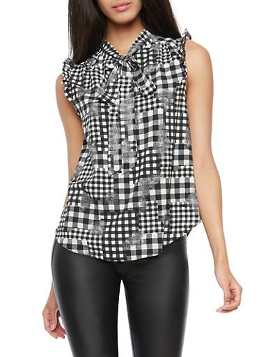 Sleeveless Gingham Shirt with Tie Neck,BLACK/IVORY,large