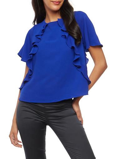 Crepe Knit Ruffle Front Top at Rainbow Shops in Jacksonville, FL | Tuggl