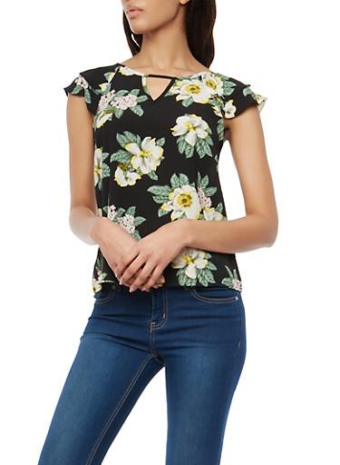 Floral Crepe Knit Flutter Sleeve Top,BLACK,large