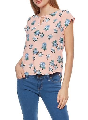 Floral Crepe Knit Top,BLUSH/BLUE,large