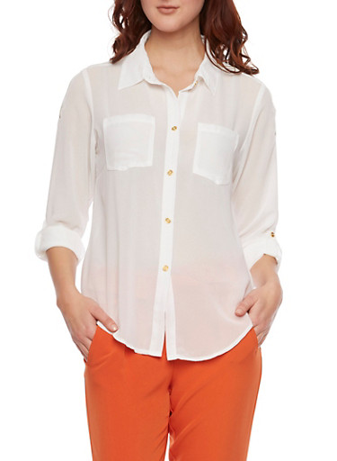 Button Up Blouse with Zipper Shoulders,IVORY,large
