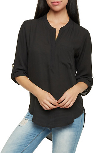 Mandarin Collar Top with High Low Hem,BLACK,large