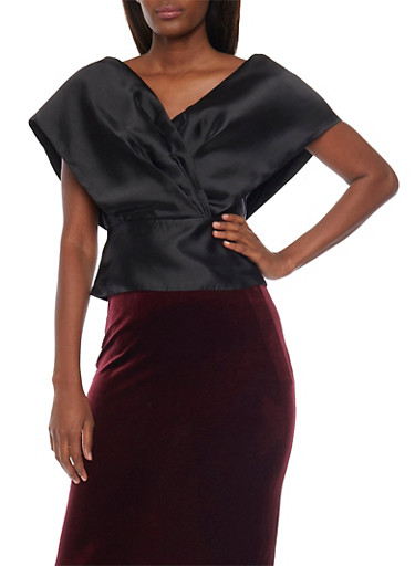 Satin Wrap Top with V Neck,BLACK,large