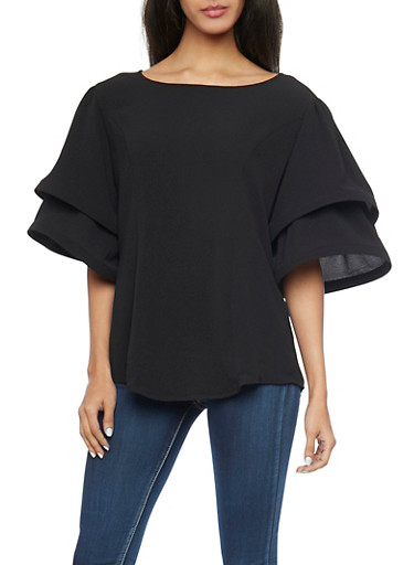 Tiered Funnel Sleeve Top,BLACK,large