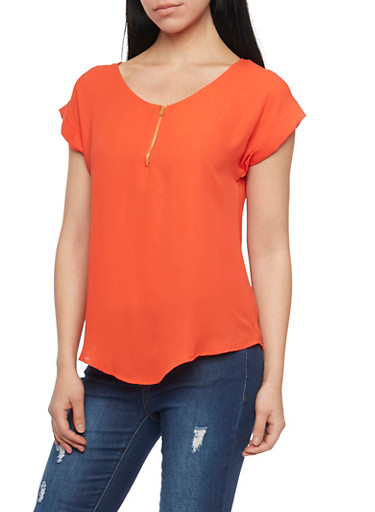 Chiffon Top with Zip Scoop Neck,CHILI PEPPER,large