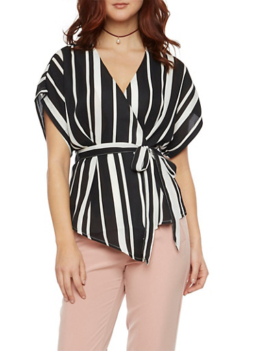 Belted Wrap Front Top with Stripes,BLACK/WHITE,large