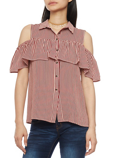 Striped Button Front Cold Shoulder Top with Ruffle Overlay,WINE,large