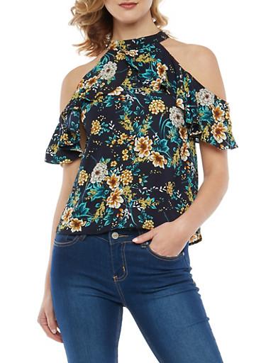 Floral Cold Shoulder Top,NAVY,large