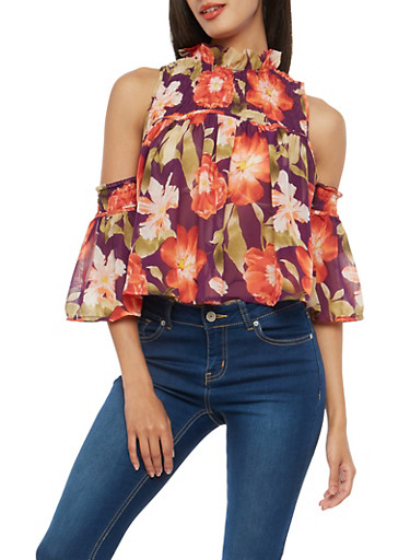 Floral Smocked Cold Shoulder Top,PLUM,large