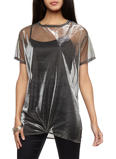 Foil Mesh Knot Front Tunic,SILVER,large
