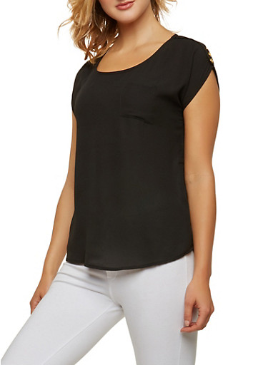 Crepe Knit Button Detail Top,BLACK,large