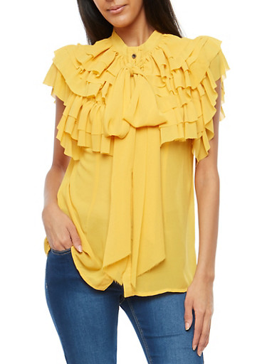 Sheer Ruffle Button Front Top,MUSTARD,large