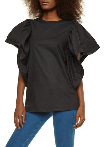 Wired Flutter Sleeve Top,BLACK,large