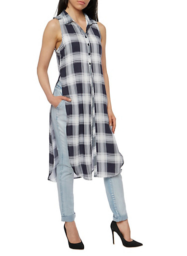Plaid Pattern Front Button Maxi Top,WHT/NAVY,large