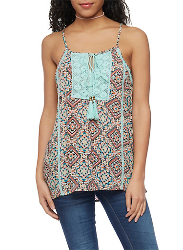 Printed Spaghetti Strap Tank Top with Crochet and Tassel Detail,MINT/PINK,large