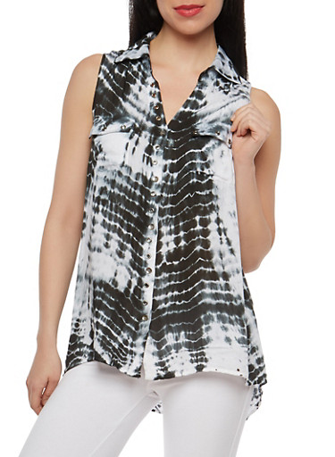 Tie Dye Sleeveless Button Front Top,BLACK,large