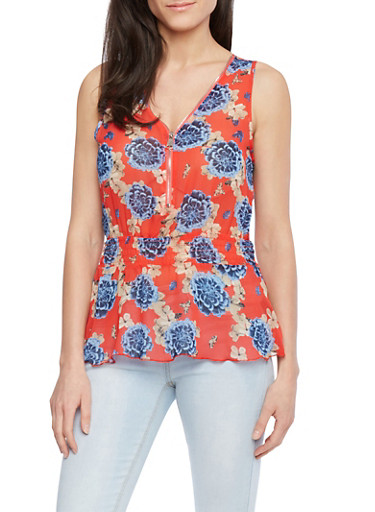 Floral Print Tank Top with Zip V Neck,RED GROUND,large