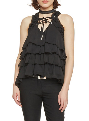 Sleeveless Lace Up Sheer Top with Ruffles,BLACK,large