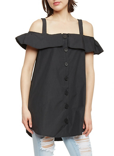 Ruffled Off The Shoulder Button Front Top,BLACK,large