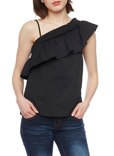 Smocked One Shoulder Top,BLACK,large
