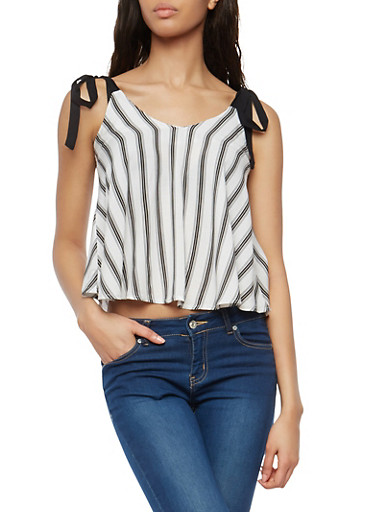 Striped Tie Sleeve Tank Top,WHT-BLK,large