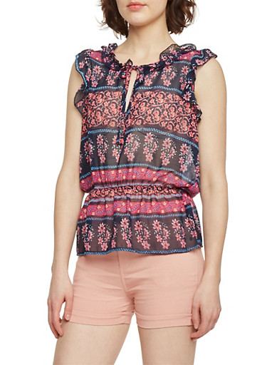 Floral Keyhole Neckline Sleeveless Top,FUCHSIA,large