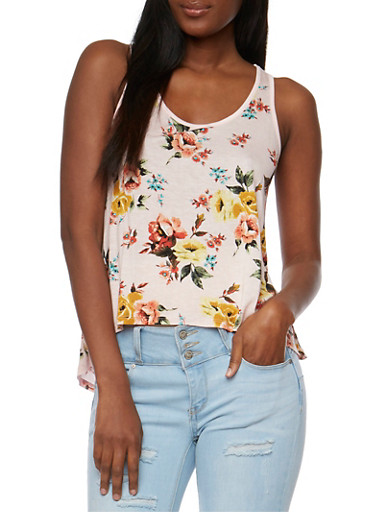 Printed Floral Tank Top with Crochet Back Yoke,BLUSH,large
