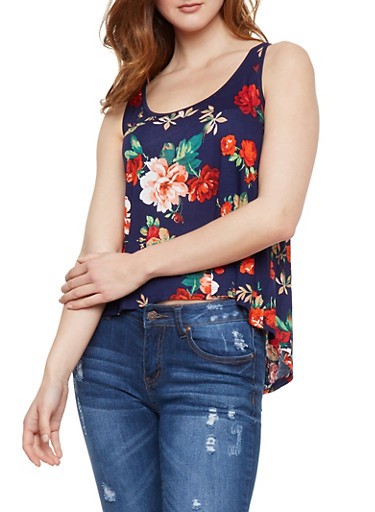 Floral Tank Top with Split Lace Back,NAVY,large