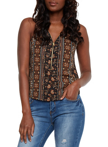 Floral Print Sleeveless Half Zip Tank Top,BLACK,large