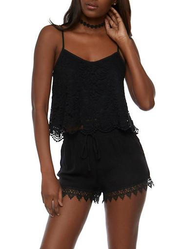Lace Crop Top with Crochet Scallop Hem,BLACK,large