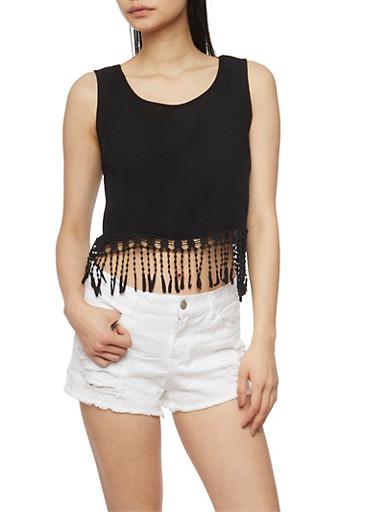 Gauze Knit Crochet Fringe Crop Top,BLACK,large
