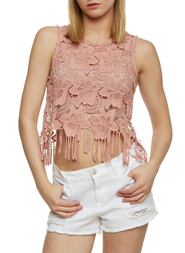 Floral Crochet Crop Top with Fringe Hem,MAUVE,large