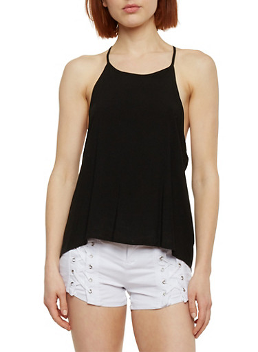 Halter Neck Top with Open Cross Back,BLACK,large