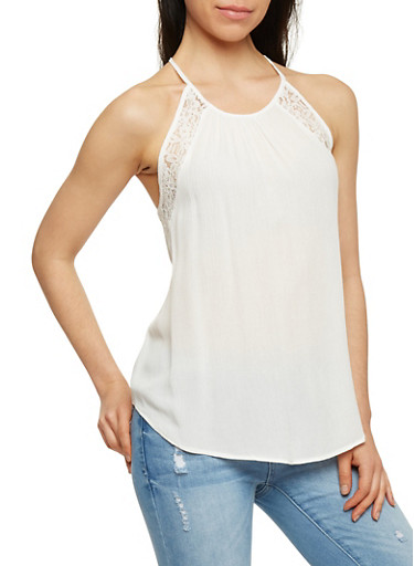Halter Neck Crochet Detail Tank Top with Keyhole Back,WHITE,large