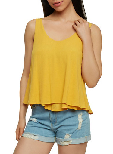 Double Layer Gauze Knit Tank Top,MUSTARD,large