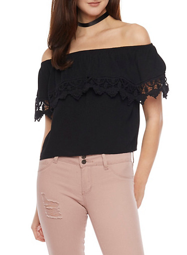 Off The Shoulder Ruffled Top with Crochet Accent,BLACK,large