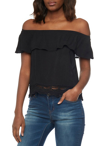 Off The Shoulder Ruffle Layer Top with Scallop Crochet Hem,BLACK,large