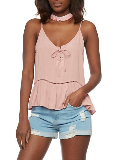 Lace Up Babydoll Cami with Crochet Insert,MAUVE,large