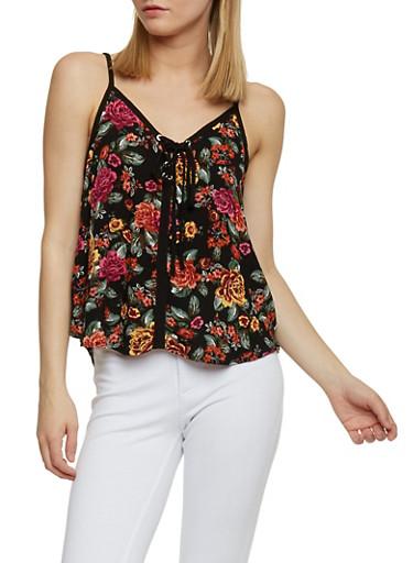 Lace Up Floral Print Tank Top,BLACK,large