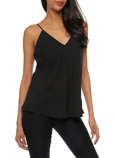 Strappy V Neck Cami,BLACK,large