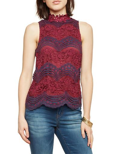 Sleeveless Lace Top,BURG/NAVY,large