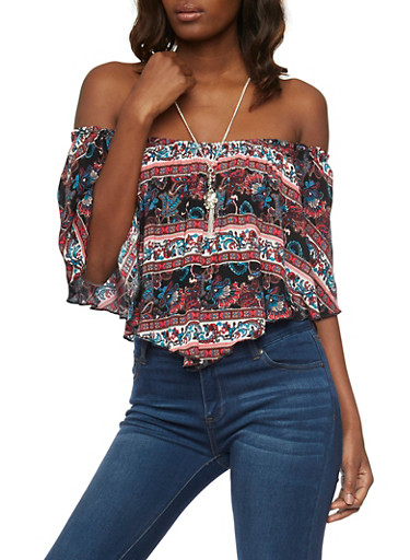 Printed Off the Shoulder Hanky Hem Top with Necklace,BLACK MULTI,large
