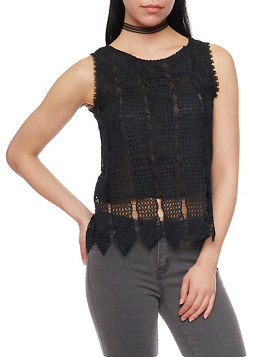 Sleeveless Crop Top with Crochet  Shell and Button Up Back,BLACK,large
