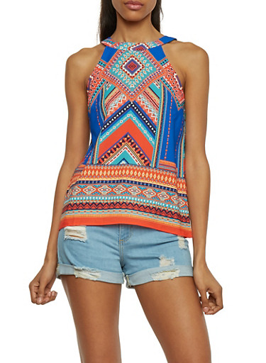 Sleeveless Crepe Knit Dashiki Print Top with Back Keyhole,RYL BLUE,large