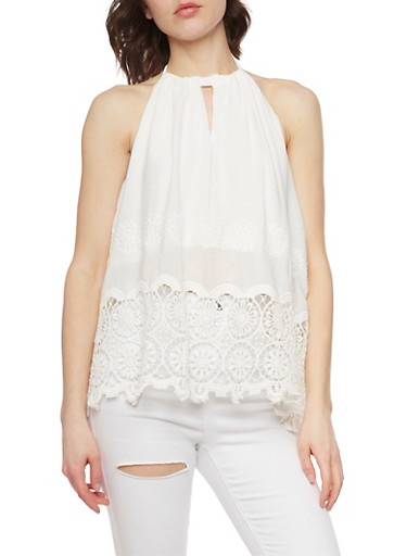 Embroidered Halter Top with Crochet Trim,IVORY,large