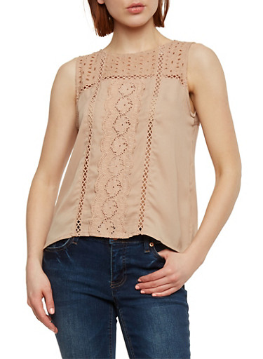 Sleeveless Crochet Insert Top with Back Cutout,MOCHA,large