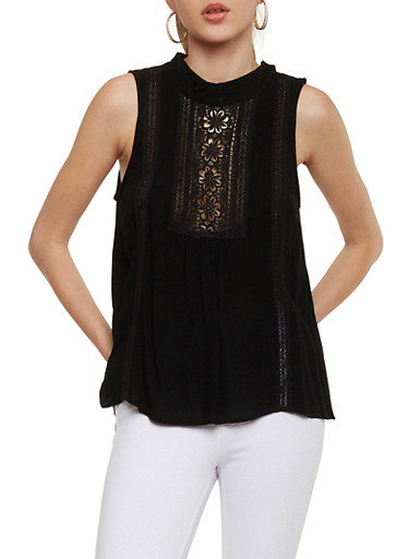Sleeveless Mock Neck Top with Crochet Detail,BLACK,large